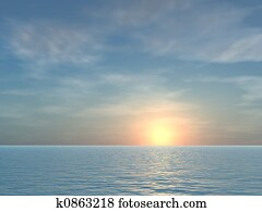 Open Tropical Sea Sunrise Background