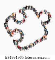 personengruppe, form, puzzel