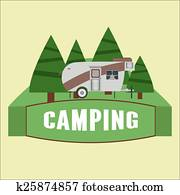 RV camping illustration. Logo and badge. Vector
