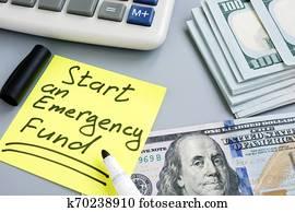 start, ein, notfall, Fund., geld, und, calculator.