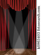 Vertical Drapes With Spotlight