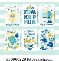 Yom Kippur greeting set cards with candles, apples and shofar and symbols. Jewish holiday background. illustration on white. Translation in Enhlish of atonement day.