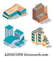 Isometric factory and industrial buildings set