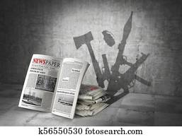 News concept. Force of news. Newspapers cast shadow in form of weapons. 3d illustration