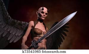 Horned female demon with sword posing over red dark background