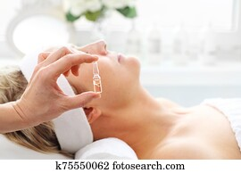 Professional care in a beauty salon. Care treatment in a beauty salon.