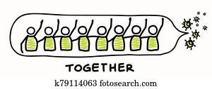 unterstützung, einander, korona, virus, covid, 19, stickman, infographic., rücksichtsvoll, gemeinschaft, hilfe, grafik, klammer, art., worl, breit, virus, pandemisch, affects, everyone., sein, kind,, dont, touch,, aufenthalt, positiv, plakat, spruchbaender
