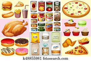 Different types of canned food and desserts