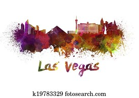 Las Vegas skyline in watercolor
