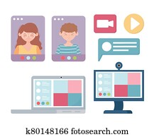 meeting online, video conference webinars or remote working