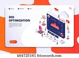 Seo optimization. Ecommerce, internet marketing and online platform isometric 3d concept. Landing web page vector template
