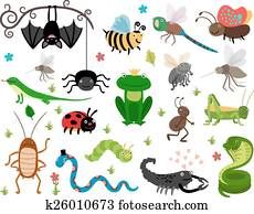 Cute vector insects, reptiles. Bee, grasshopper, lizard and snake