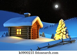 house in snow mountain