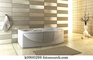 staggered tiled design of the bathroom