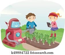 Stickman Kids Robot Garden Illustration