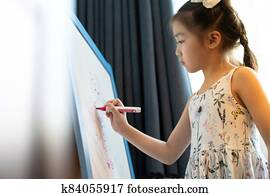 Asian girl elementary student drawing on whiteboard