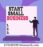 Conceptual hand writing showing Start Small Business. Business photo text Aspiring Entrepreneur a New Venture Trade Industry Back view Man dressed standing platform facing blank rectangle.