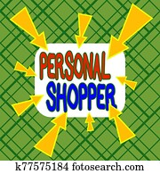 Conceptual hand writing showing Personal Shopper. Business photo text individual who is paid to help another to purchase goods Asymmetrical uneven shaped pattern object multicolour design.