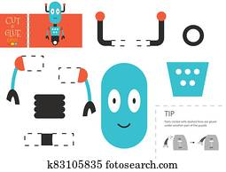 Cut and glue paper toy. Vector illustration, worksheet with cartoon robot character