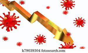 general stock market index golden virus coronavirus covid-19 covid 19 - 3d rendering