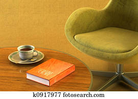 lounge room with table and bible
