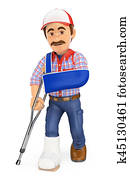 3D Worker with plaster leg and arm in sling. Work accident