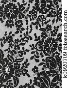 black lace background with a floral pattern