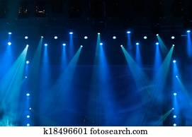 Blue Stage Lights at the Concert