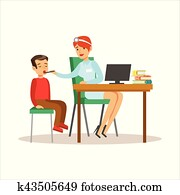 Boy On Medical Check-Up With Female Pediatrician Doctor Doing Physical Examination With Computer For The Pre-School Health Inspection