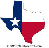 Map of Texas in national colors