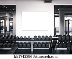 Modern gym with poster on the wall. 3d rendering