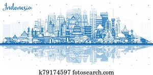 Outline Indonesia Cities Skyline with Blue Buildings and Reflections.