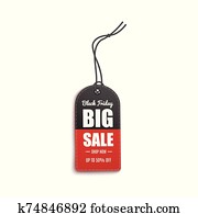 Black Friday - big sale up to 50% off. Red and black realistic clothing hang tag