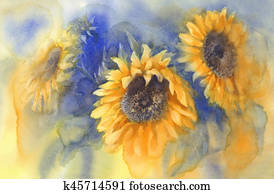 bouquet of sunflowers on blue background watercolor