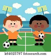 kinderfussball, spieler, in, a, stadion