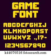 pixel, früher, videospiel, schriftart