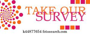 Take Our Survey Pink Orange Horizontal