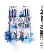 Watercolor drawing of Notre-dame. aquarelle Paris view painting