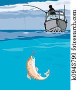Fisherman angling th