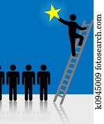 People Climb Ladder Rising Star Symbol