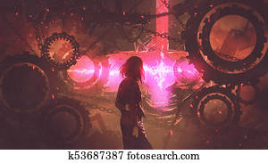 woman looking at the red light through gears