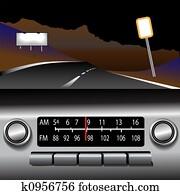 ashboard Radio AM FM Highway Drive Background