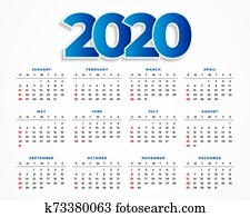 clean 2020 calendar template design