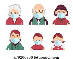Family wearing protective Medical masks for prevent virus Covid-19. Vector avatars of people in medical masks
