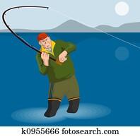 Fisherman angling