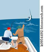 Fisherman catching marlin