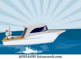 Fisherman fishing on boat