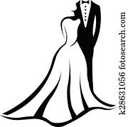 Wedding couple logo