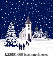 Winter Church at Night