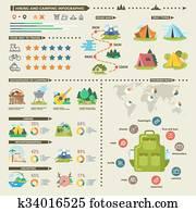 camping, und, wandern, vektor, infographics